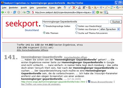 Hommingberger Gepardenforelle bei Seekport gelistet!